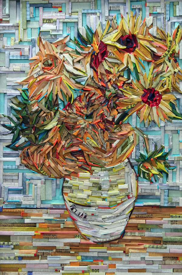 Famous Paintings Recreated by Wood Wrapped in Colorful Newsprint
