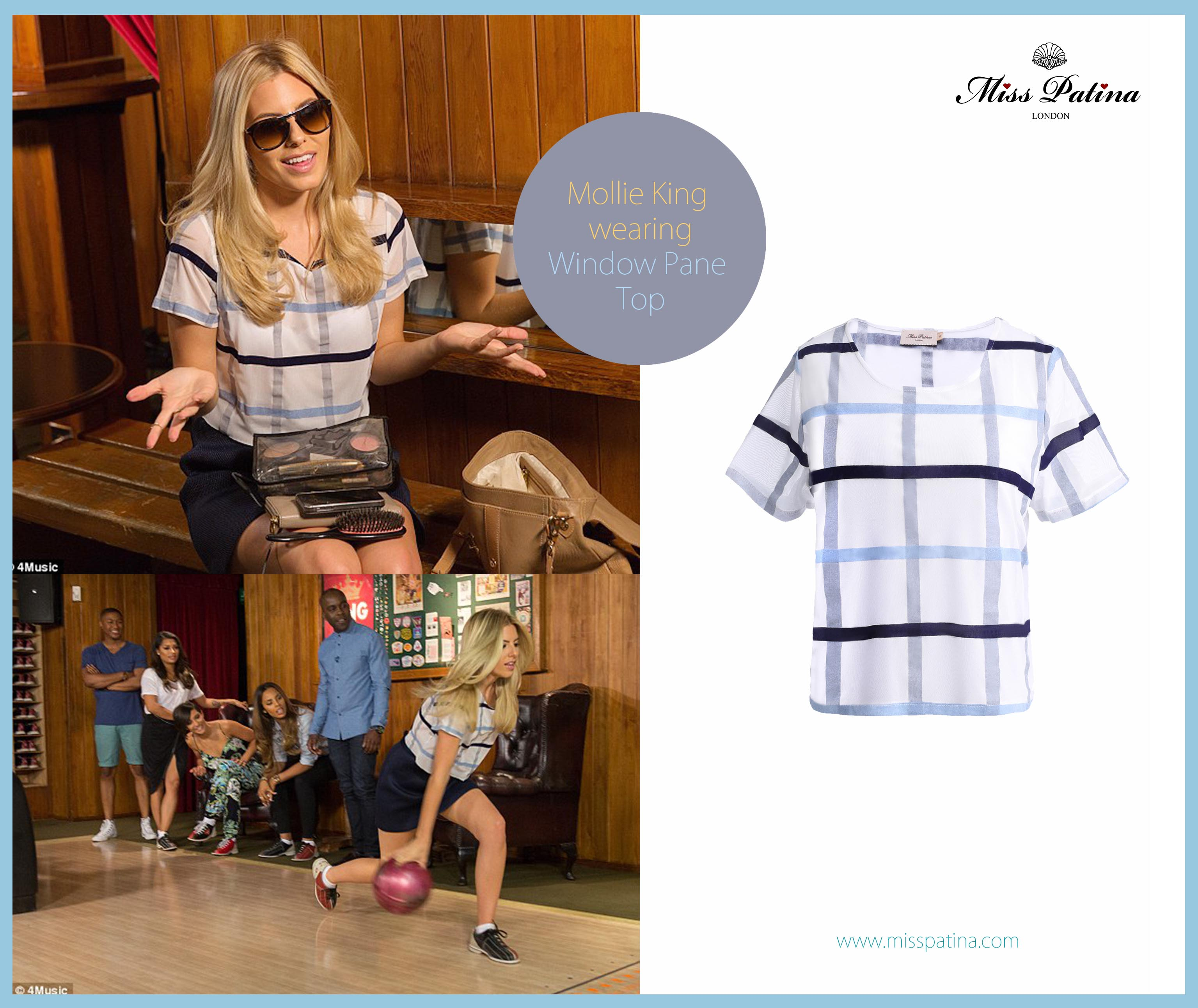 Spotted: Mollie King Wearing Miss Patina Window Pane Top