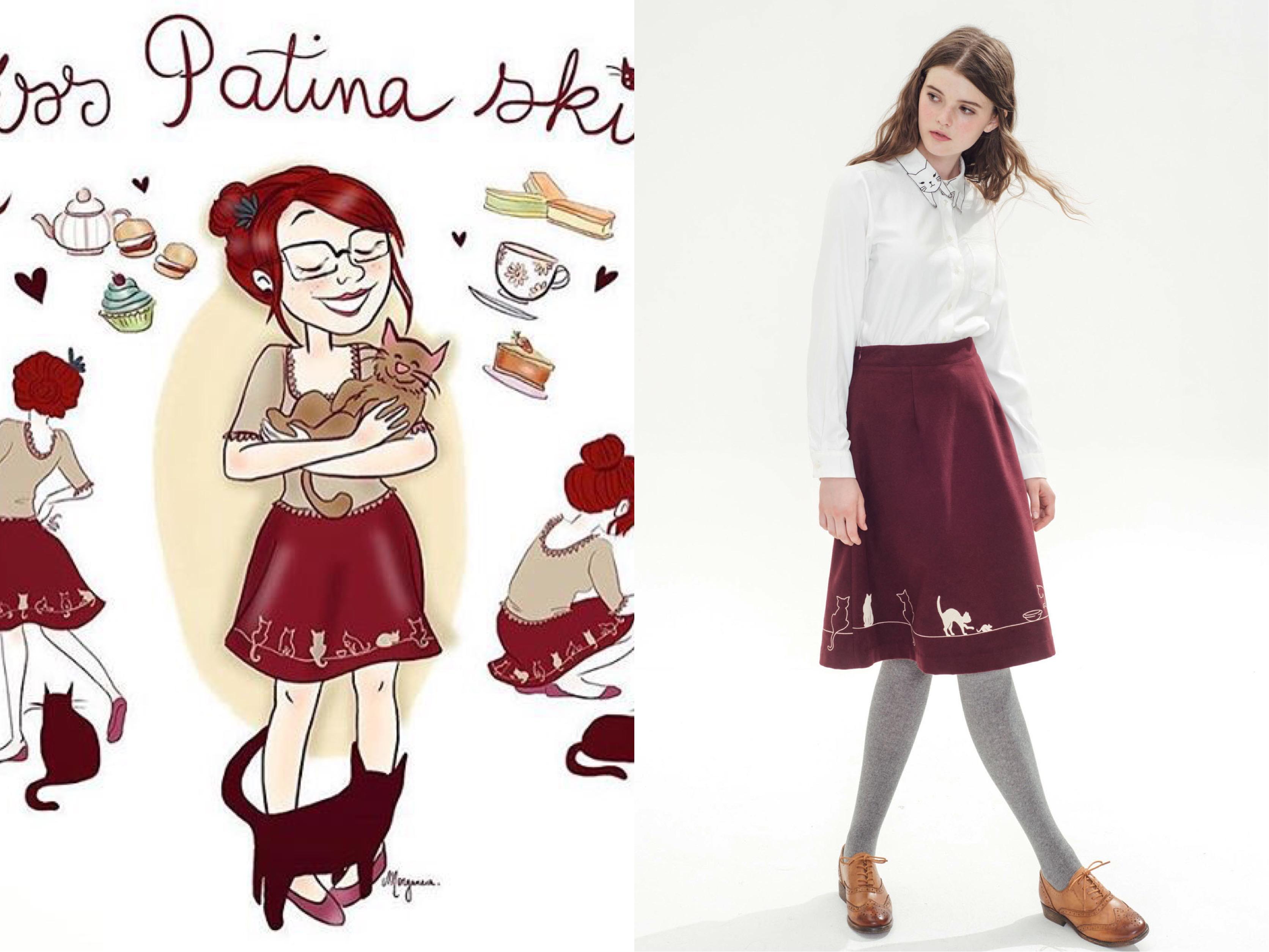 Feline Fling Skirt (Burgundy)