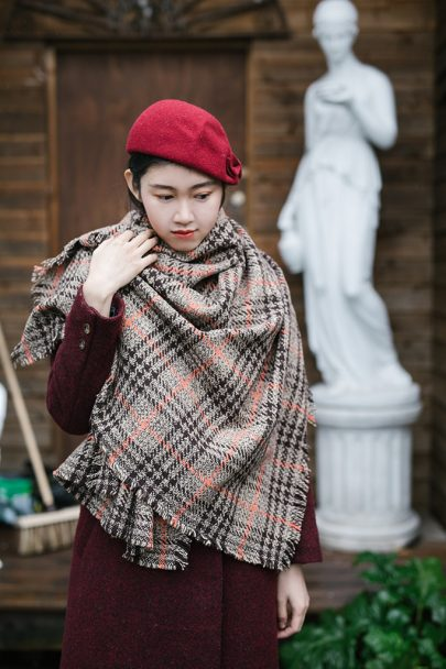 Classic Check Pattern Shawl Scarf (brown) (5)