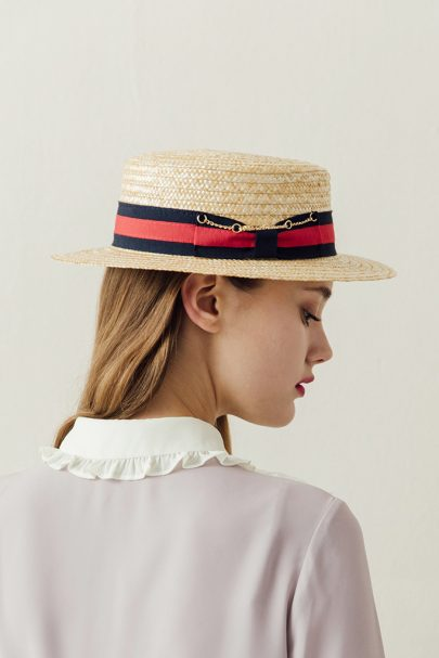 Audrey Lady Straw Boater Hat (Chain) (2)
