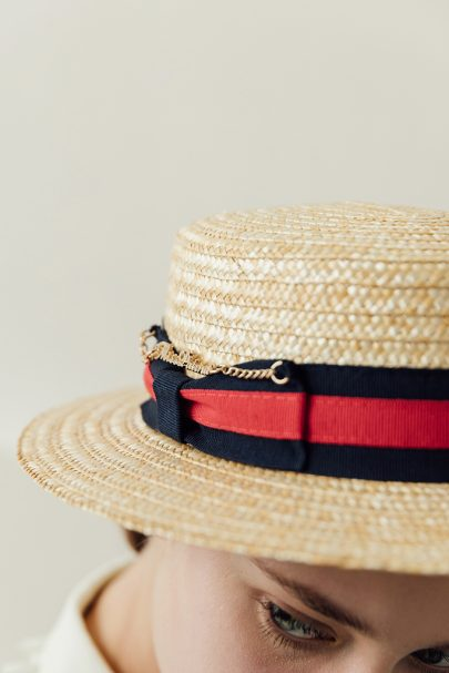 Audrey Lady Straw Boater Hat (Chain) (3)