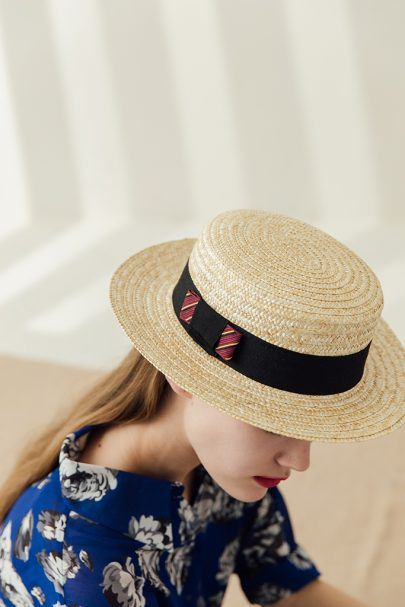 Audrey Lady Straw Boater Hat (signature ribbon bow) (3)
