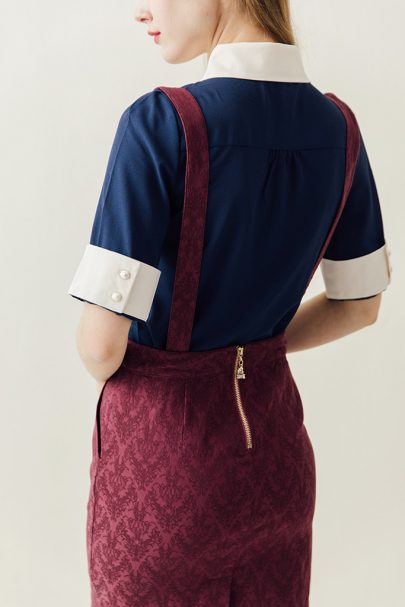 Miss Adelaide Dungarees (Burgundy) 01