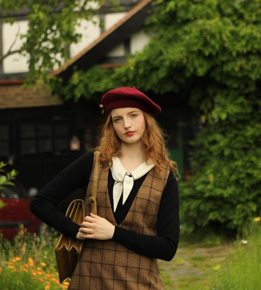 Sinclair Pinafore Dress (Brown)
