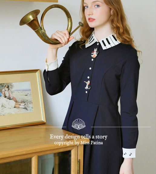 Kitten Melody Dress (Navy)